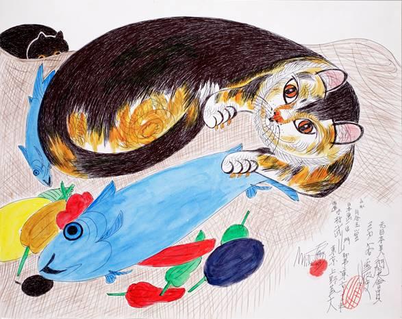 映画ミリキタニの猫イラスト